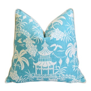 "Aqua & White Chinoiserie Asian Linen & Velvet Feather/Down Pagoda Pillow 26"" Square For Sale"
