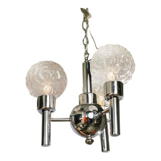 Circa 1960 Mid-Century Modern Chrome & Glass Three-Globe Light