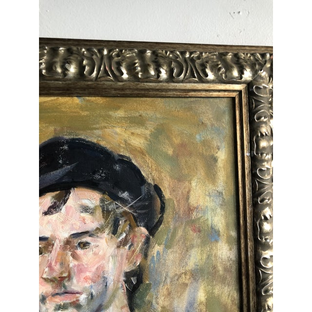 Canvas Vintage Oil Portrait of a Man on Canvas, Framed For Sale - Image 7 of 10