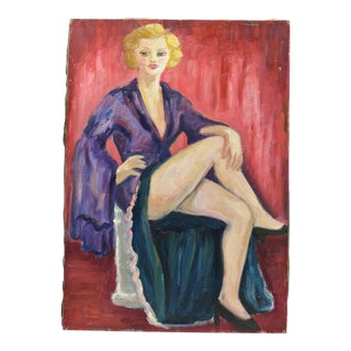 Mid-Century Oil Portrait of French Woman For Sale