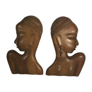African Cameroon Carved Wood Sculpture - Pair