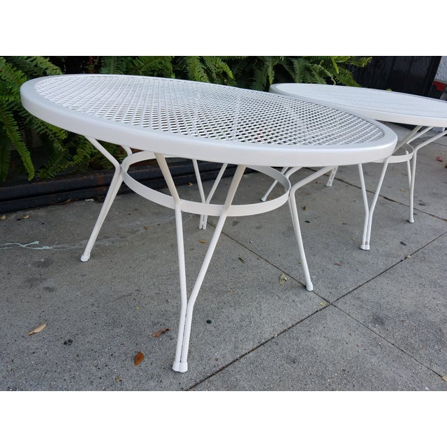 Mid-Century Round White Mesh Side Table - Image 5 of 6