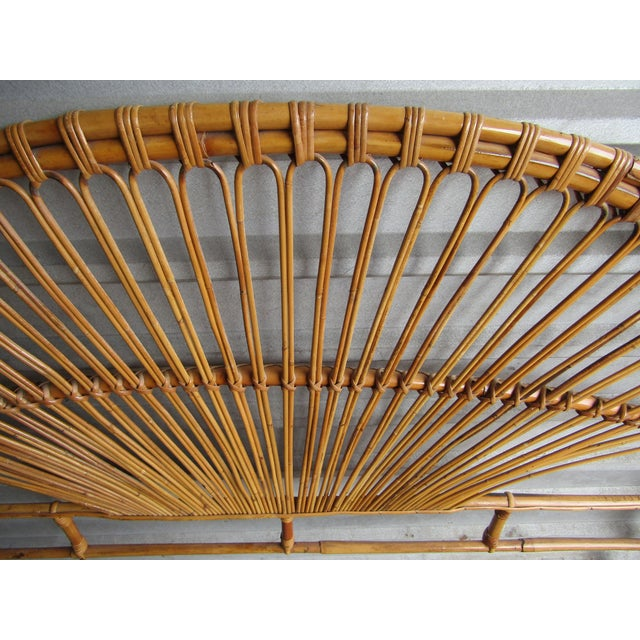 Wood Mid-Century Modern Fan Bamboo and Bentwood Headboard For Sale - Image 7 of 8