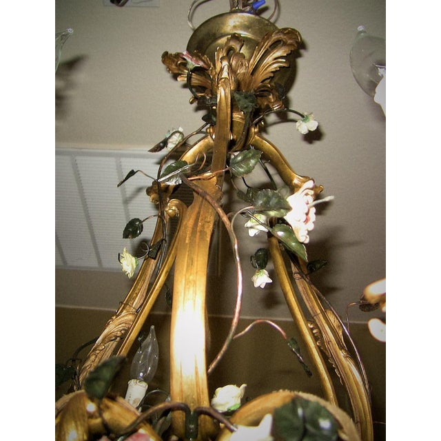 Metal 19c French Gilt Bronze Chandelier With Porcelain Flowers For Sale - Image 7 of 13