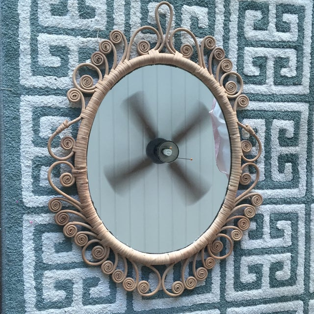 Vintage Rattan Peacock Coiled Oval Mirror - Image 3 of 11