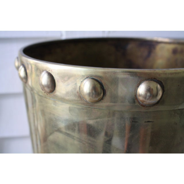 Gold Vintage Mid-Century Chinoiserie Style Brass Planter For Sale - Image 8 of 13