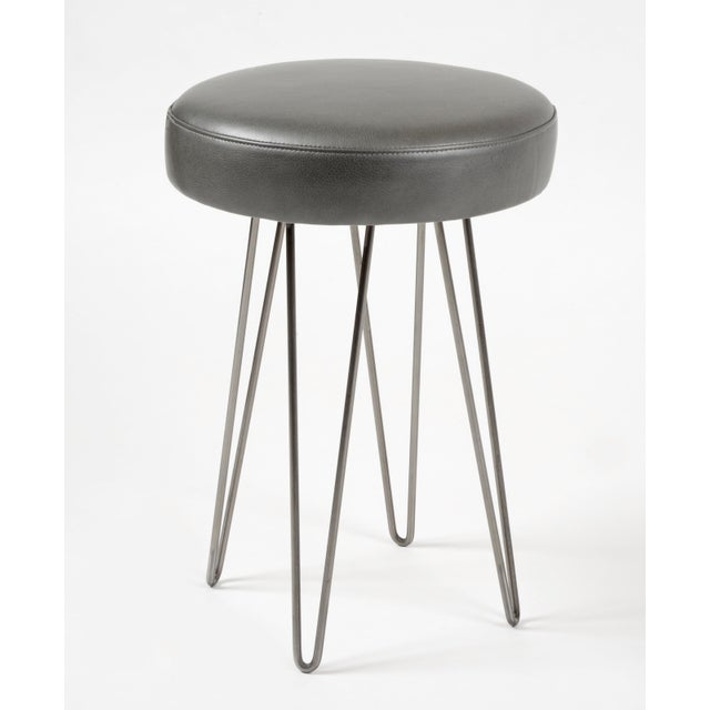 Modern Charcoal Leather Hairpin Counter Stool For Sale - Image 3 of 3