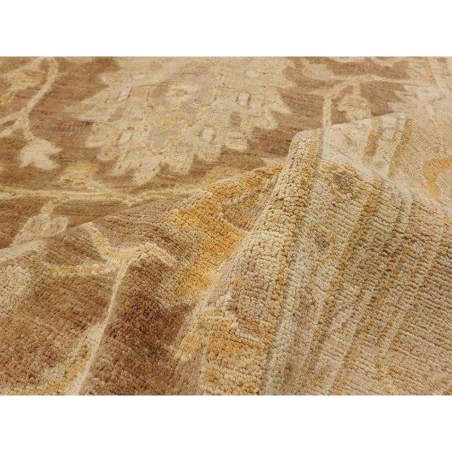 """1990s Peshawar Audry Brown & Tan Wool Rug - 12' x 17'7"""" For Sale - Image 5 of 7"""