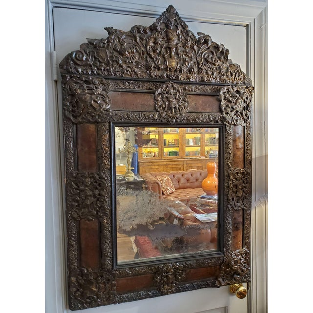 Brown 17th Century Cushion Moulded Dutch Mirror For Sale - Image 8 of 9