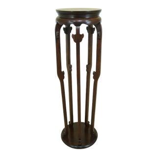 Baker Asian Design Walnut Pedestal Table For Sale