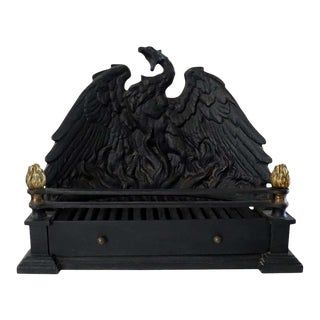 Phoenix Cast Iron and Bronze Fire Grate, Early 20th Century For Sale