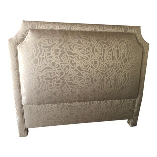 Contemporary Custom Plush Upholstered Queen Headboard For Sale