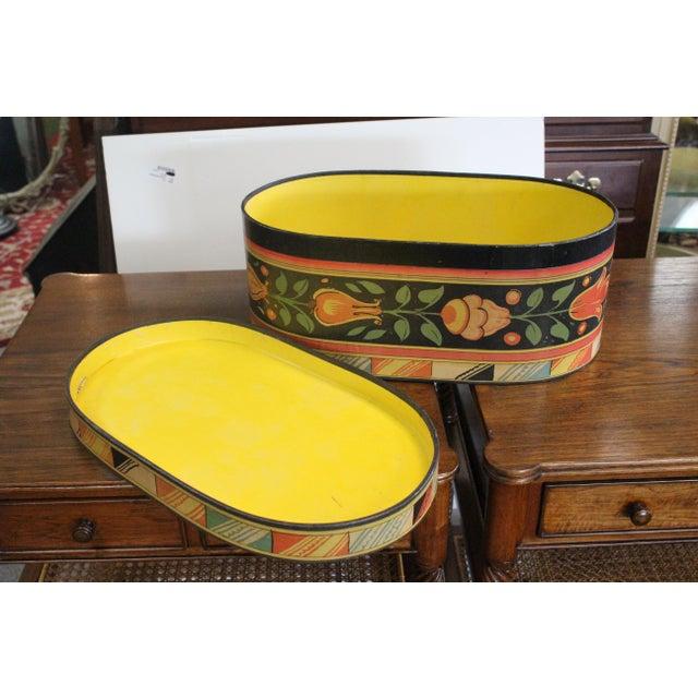 Paper 20th Century Art Nouveau Band Hat Box For Sale - Image 7 of 9