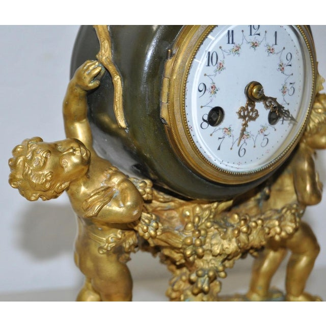 Auguste Moreau Bronze & Marble French Mantle Clock 19th Century For Sale In San Francisco - Image 6 of 10