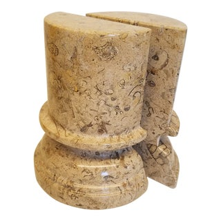 Italian Beige Marble Classical Tuscan Column Bookends - a Pair For Sale