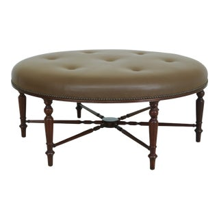 Round Sheraton Style Leather Top Solid Mahogany Ottoman For Sale