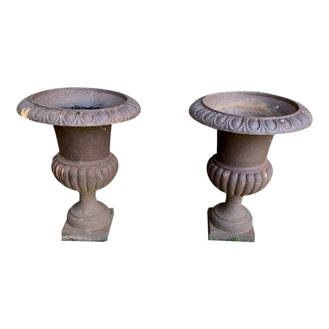 Antique Distrssed Iron Urns - a Pair For Sale