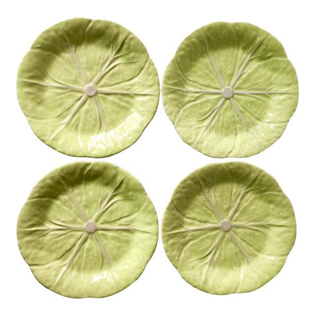 Bordallo Pinheiro Cabbage Leaf Majolica Plates-Set 4 For Sale