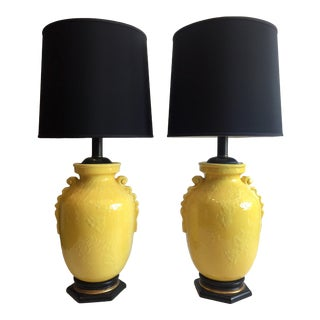 Monumental Mid Century Yellow Ceramic Glazed Lamps a Pair For Sale
