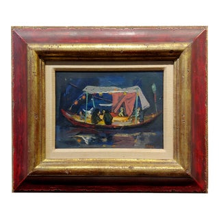 Louis Bosa 1960s Party Boat at Night - Oil Painting For Sale