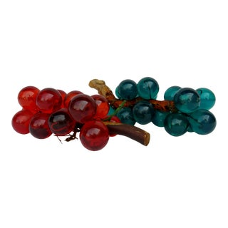 Vintage Red and Teal Acrylic Grape Clusters - a Pair For Sale