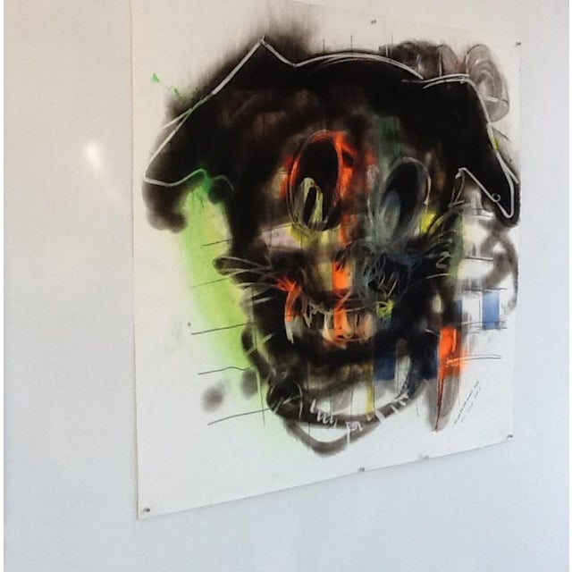 Dog is a Carbon Smoke, Conte crayon and Paint artwork on paper by Hawaii artist, Wayne Zebzda. It is made with a blow...