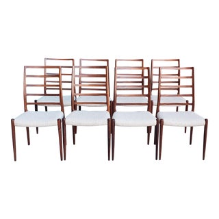 Vintage Mid Century Niels Moller Danish Modern Rosewood Dining Chairs- Set of 8 For Sale