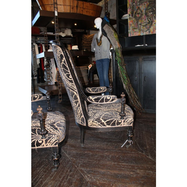 Traditional Pair of Victorian French Slipper Chairs For Sale - Image 3 of 9