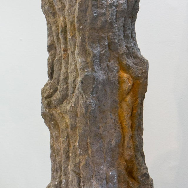 Carved Limestone Faux Bois Table Lamp For Sale - Image 4 of 9