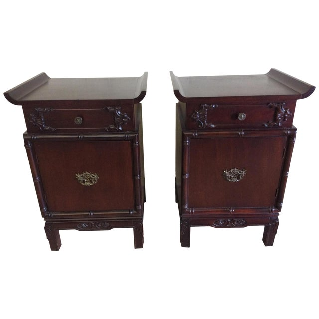 Asian Style End Tables - A Pair For Sale