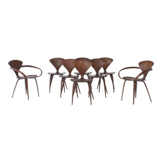Set of Eight Norman Cherner Dining Chairs, Made by Plycraft in the Usa, 1960s For Sale