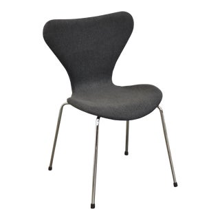 Grey Tweed and Chrome Modern Desk Chair For Sale
