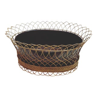 Black & Gold Regency Style Wireware Cachepot