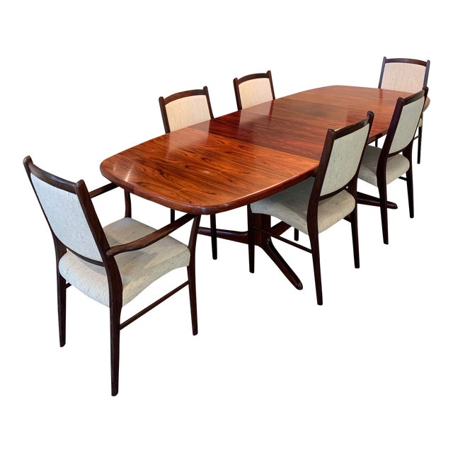 Rasmus Vintage Rosewood 9 Piece Dining Set For Sale