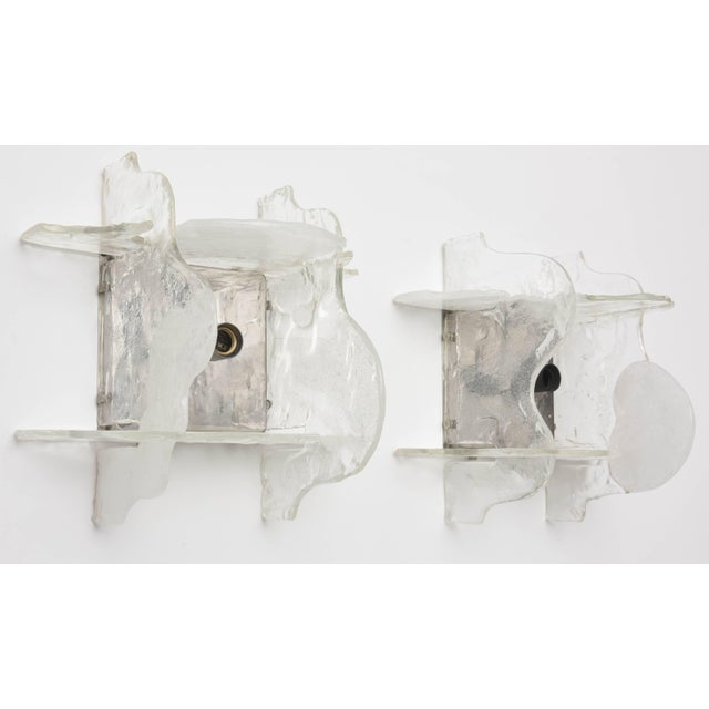 Metal Murano Glass Wall Sconces by Mazzega, Italy, 1960s - a Pair For Sale - Image 7 of 11