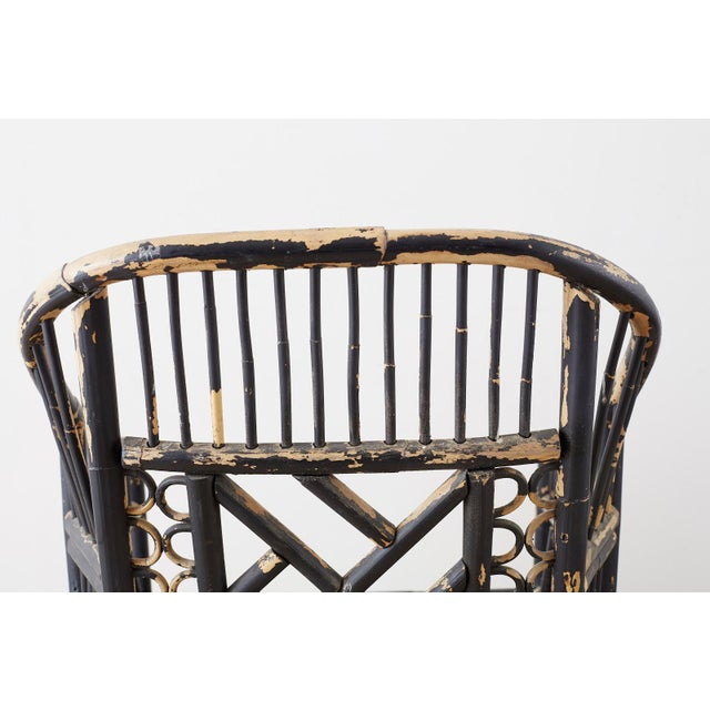 Brighton Bamboo Rattan Chinese Chippendale Lacquered Chairs For Sale - Image 9 of 13
