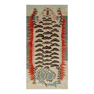 Handknotted Fire and Ocean Tiger Rug, 2'x6'