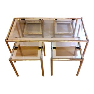 Mid 20th Century Maison Lancel Brass Coffee Tables & Pair Nesting Tables - Set of 3 For Sale
