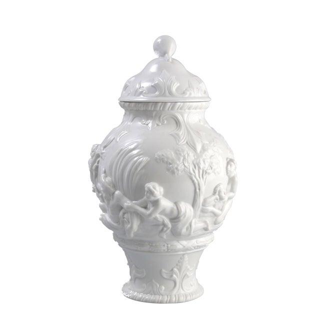 White Capodimonte Italian Porcelain Urn For Sale