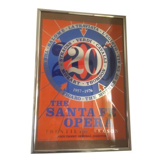 "1970s Vintage Robert Indiana the Santa Fe Opera ""20th Season"" Foil Serigraph Poster For Sale"