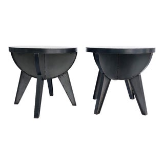 Sputnik Studio Industrial Recycled Steel Side Tables by Kevin Shahan- a Pair For Sale