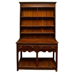 """Vintage Welsh Style """"Step-Back Dresser"""" Primitive Wormhole Cabinet"""
