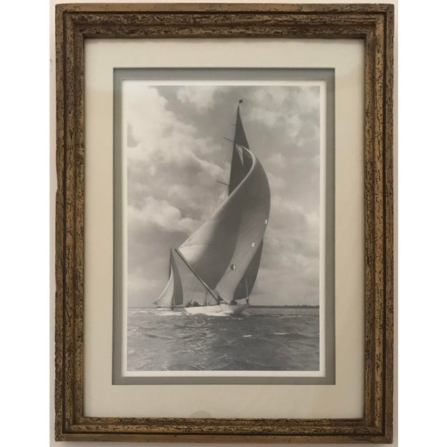 """American Framed and Double Shadow Mount Matted """"Candida"""" Black & White Prints From 1923 & The """"Velsheda"""" From 1943 - a Pair For Sale - Image 3 of 13"""