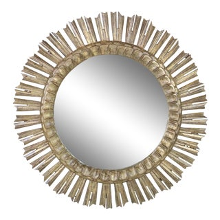 Early 20th Century Carved Wooden Sunburst Mirror For Sale