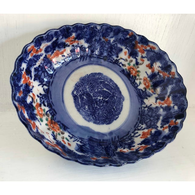 Antique Japanese Imari Oval Scalloped Bowl For Sale - Image 12 of 12