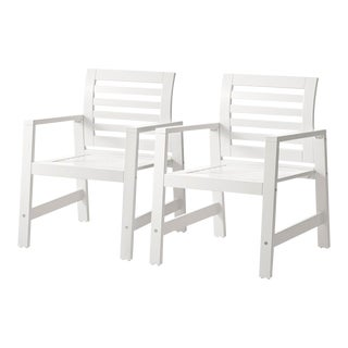 Pair of Modern Wooden Outdoor Dining Chairs For Sale