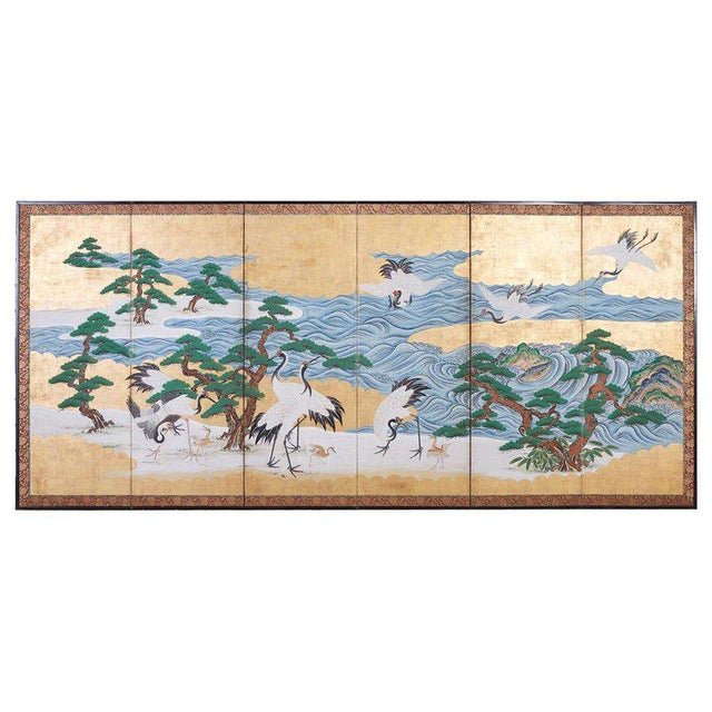 Japanese Six Panel Screen of Cranes by the Sea For Sale - Image 13 of 13