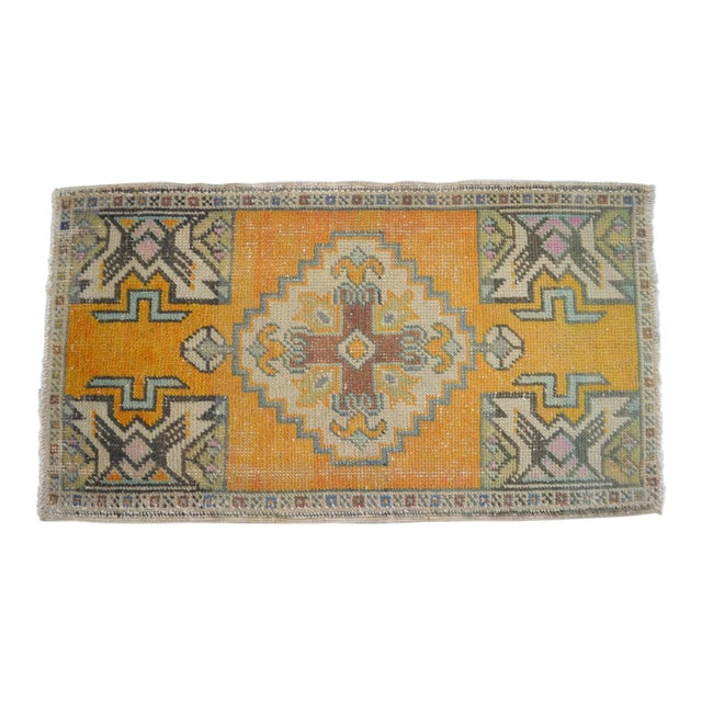Distressed Rug Low Pile Hand Knotted Yastik Rug Faded Mat- 20'' X 36'' For Sale