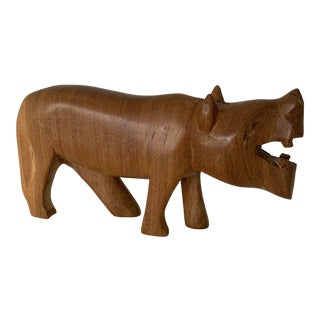 Vintage Hand Carved Wooden African Hippo For Sale