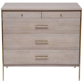 Bleached Mahogany and Brass Bachelor Chest by Paul McCobb for Calvin Furniture For Sale